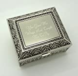 Personalized jewelry box with 3 lines text engraving - Engraved 4 Inch Antique jewelry box bridesmaid or flower girl gift
