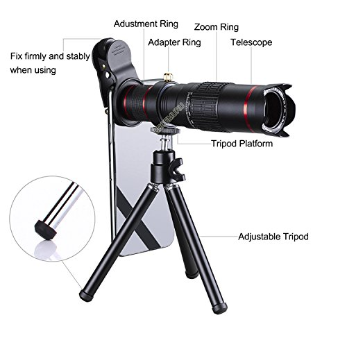 Camera Lens,BECEMURU 22X 4 in 1 Telephoto Zoom Camera Lens Kit Double Regulation HD Scale Distance FOV Phone Lens Attachment with Tripod for iPhone X/8/7/7 Plus/6s/6/5,Samsung Galaxy/Note Smartphone by BECEMURU (Image #6)