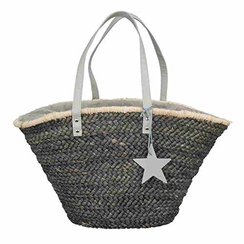 Clayre & Eef BAG186 Tasche Shopper Einkaufskorb Korb Strandtasche grau Sternanhänger ca. 30 x 61 cm