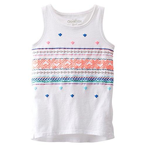 OshKosh Baby Girls Puff-print Tank Top (9 Months, White) (Osh Kosh Cami)