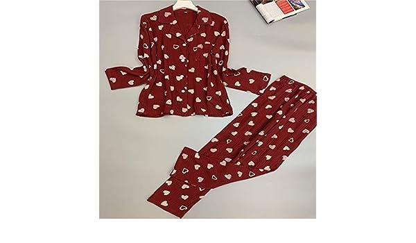 Otoño Pijamas de algodón para Mujer Twinset Hilo de algodón de ...