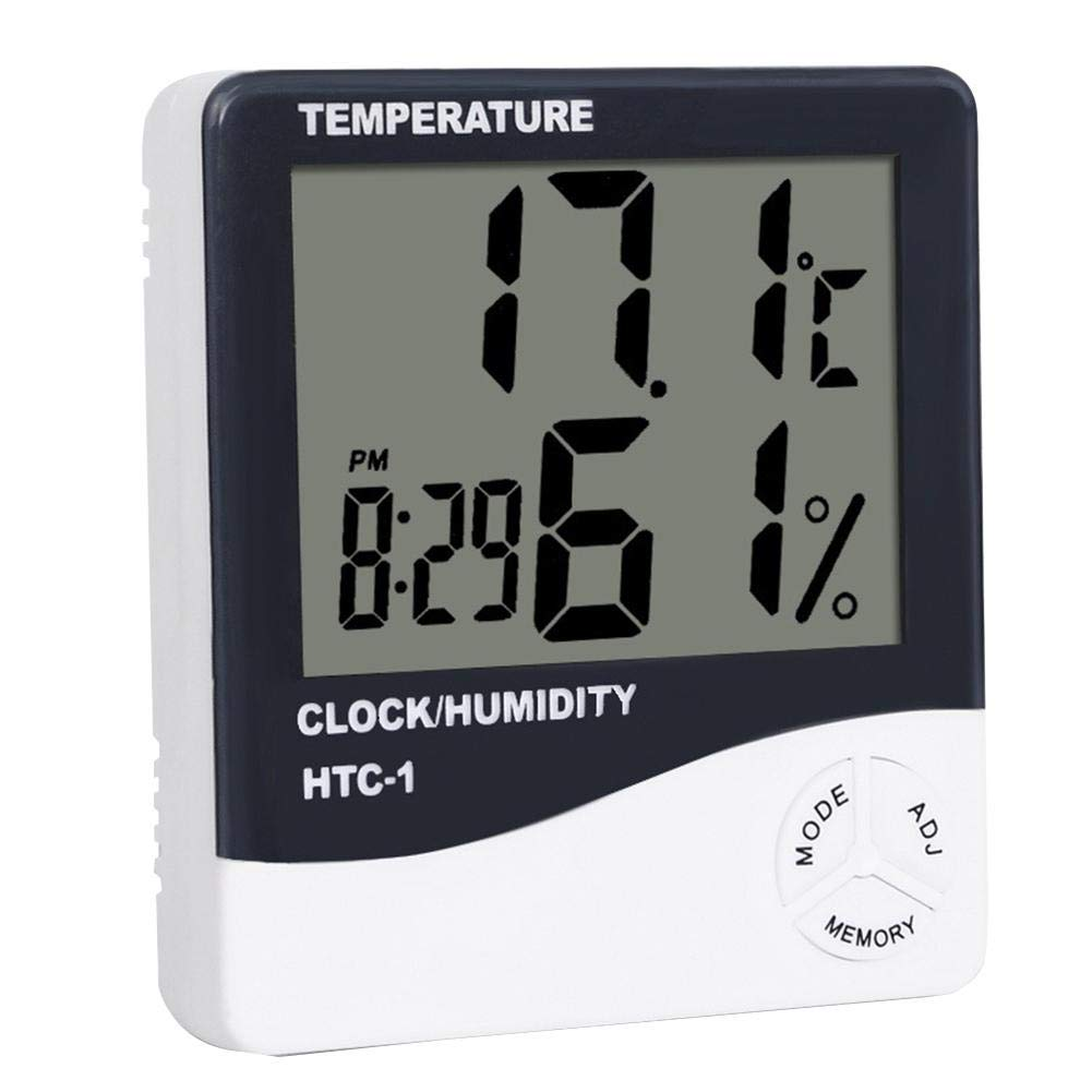 Forestwood Thermometer Hygrometer LCD Digital Indoor Electronic Temperature And Humidity Detector Weather Station Alarm Clock HTC1