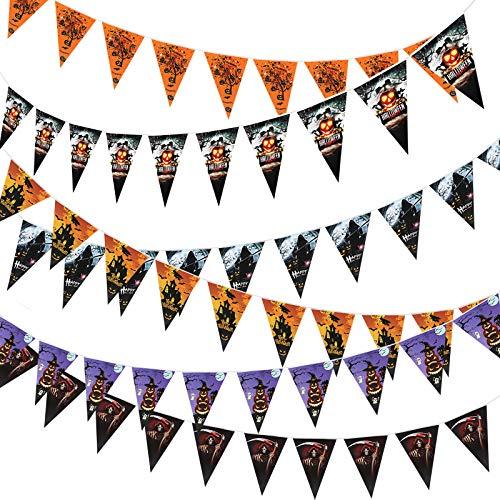 Halloween Banner Triangle Flag Halloween Garland 6 Set(Assembled) Halloween Party Decoration for Bar Classroom Office -