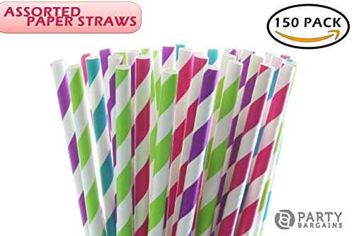 Party Bargains Paper Straws | Biodegradable & Reusable Assorted Rainbow Stripe Drinking Large Straw | Perfect for Juices, Shakes, Smoothies, Party Supplies, Arts & Crafts | 150 (Orange Drinks For Halloween)
