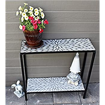 2 Tier Concrete Patio Console Buffet Serving Table with Oval Mosaic Design
