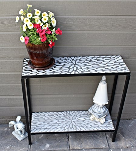 Cheap  2 Tier Concrete Patio Console Buffet Serving Table with Oval Mosaic Design