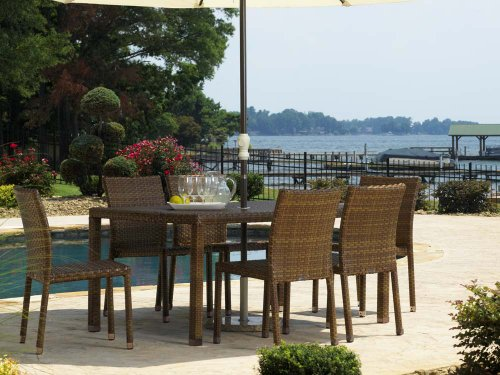 Panama Jack Outdoor 7-Piece St Barths Rectangular Dining Side Chair Set, Includes 6 Side Chairs and 36 by 60-Inch Rectangular Woven Table (Set Table Rattan Console)