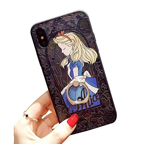 for iPhone Xs MAX Protective Skins,Princess Alice in Wonderland Soft Frame/Hard Back Embossed Craft/Ultra-Light Protective Shell Case