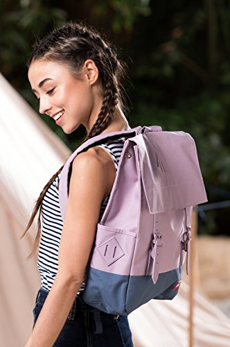 blnbag U1 - Leichter Tagesrucksack, Daypack für Damen und Herren mit Laptopfach, multifunktionaler City Rucksack, Backpack, unisex, Blassgrün Rosa/Blau