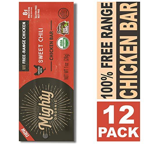 (100% Free Range Organic Chicken Bar, Keto Snacks, Sweet Chili, Mighty Organic, 1oz (Pack of 12) )