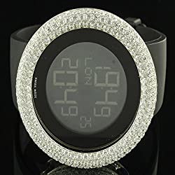 Custom Bling Master Iced Out Men Silicon Band Digital Swiss Watch
