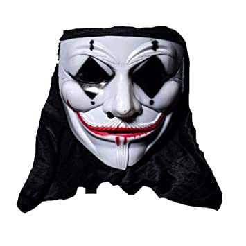 Gaoyangyang Halloween Horror V-Word Máscara Payaso Fantasma Cabeza Vendetta Stage Street Dance Adult PVC