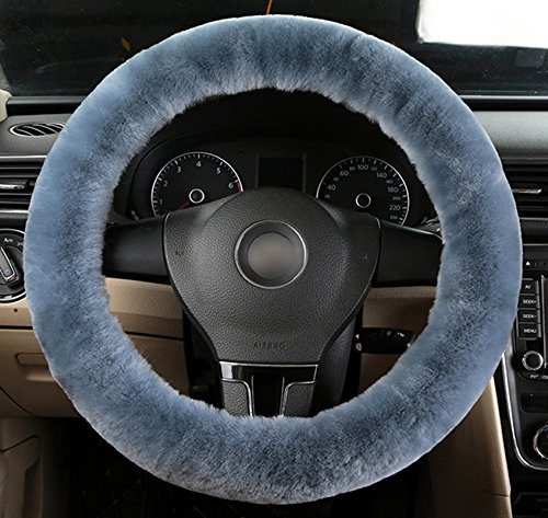 ETbotu Pure Wool Soft Steering Wheel Cover Sleeve Winter Warm Guard Truck Vehicle Car Accessory