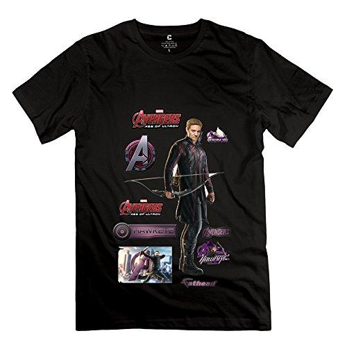 SANYI Men's Avengers Age Ultron Hawkeye Fathead T-shirt XXL Black