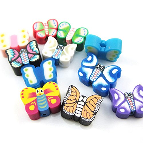 Fujiyuan 150 pcs Nail Art DIY Mixed Butterfly fimo Jewellery Polymer Clay Spacer DIY Beads Hole Arts Crafts