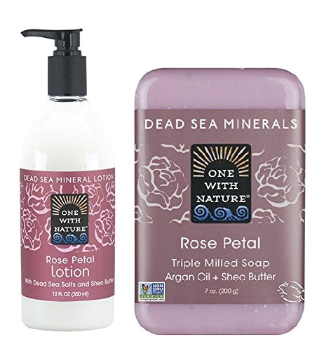 One With Nature Rose Petal Lotion and Rose Petal Soap Bar Bundle with Aloe Vera, Shea Butter, Ginger Root and Vitamin E, 12 fl. oz. and 7 oz. each - Nature Ginger Body Lotion