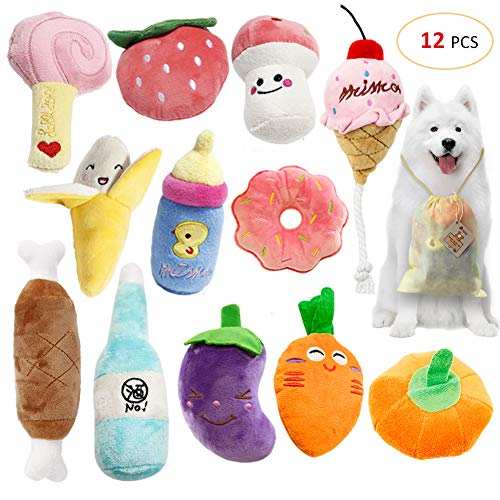 SITENG Squeaky Plush Dog Toy Pack for Puppy, Small Stuffed – Puppy Chew Toys – Set of 12 Dog Toys Bulk with Squeakers, Cute Plush Soft Toys for Small Medium Dog Pets