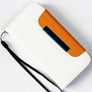 CHSH Litchi Monedero Funda de Cuero cáscara con cierre magnético tarjeta efectivo espacio y soporte Cover para Apple iPhone 4 4G 4S Blanco