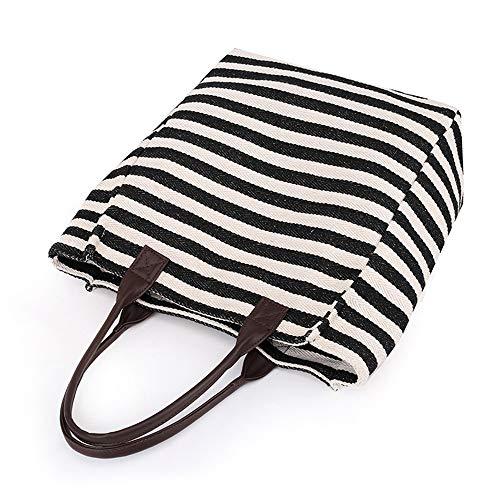 Coton tout Shopper Fourre Black D'été Bandoulière Hobo Filles Femmes Balbala Toile Strip G Main À Mini Sac OwUqY8SfWx