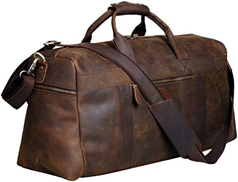 S-ZONE Vintage Crazy Horse Leather Men s Travel Duffle luggage Bag