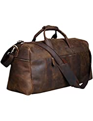 S-ZONE Vintage Crazy Horse Leather Mens Travel Duffle Luggage Bag