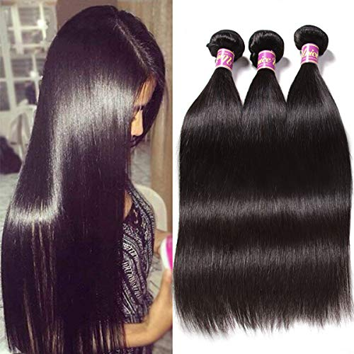 Unice Hair 8a Malaysian Straight Hair 4 Bundles Virgin Unprocessed Human Hair Wefts Hair Extensions Deal with Mixed Lengths 100% Human Hair Extensions (20 22 24 26, Natural Black) (Best Virgin Human Hair Extensions)