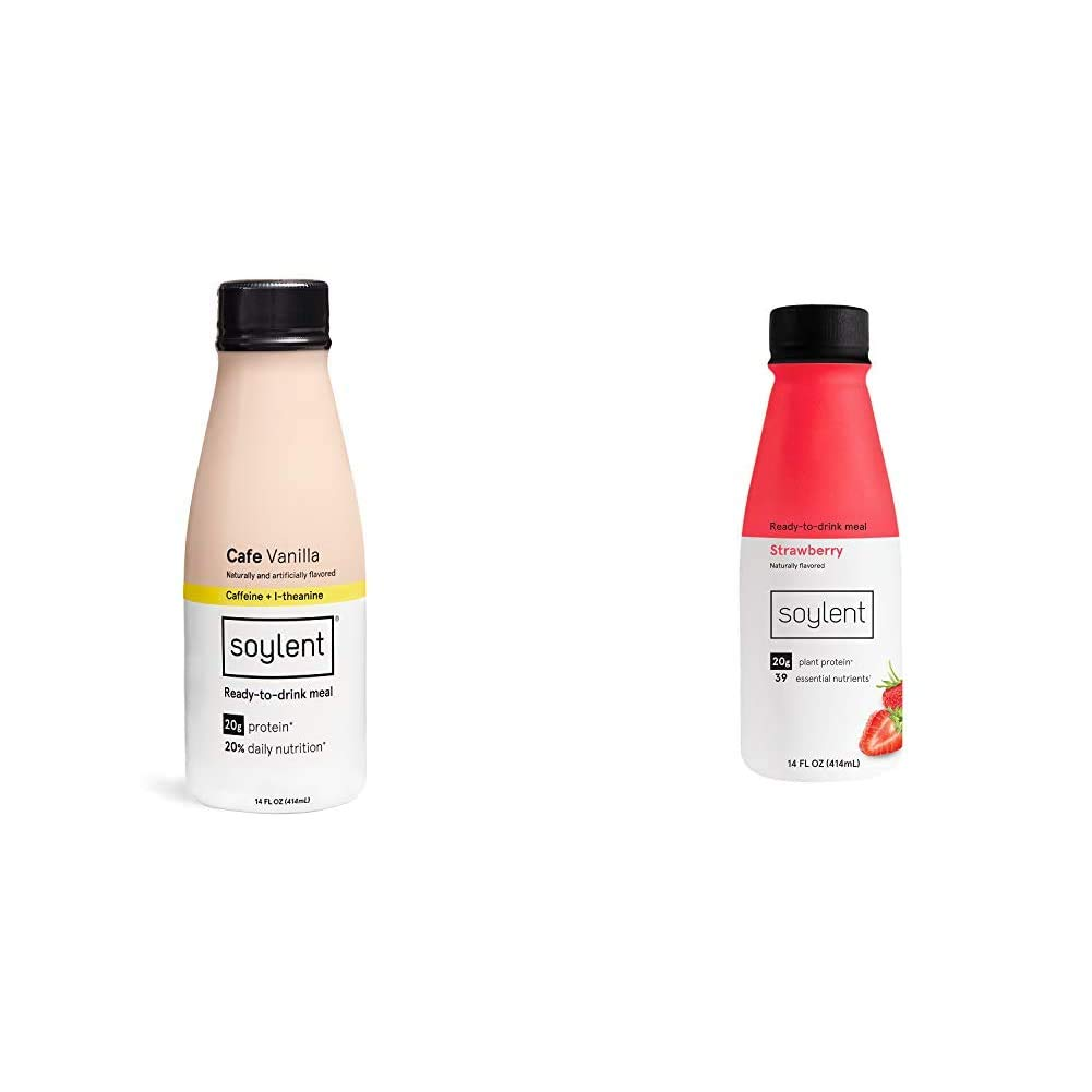 Soylent Cafe Vanilla Plant Protein Meal Replacement Shake, 14 Oz (Pack of 12) & Strawberry Plant Protein Meal Replacement Shake, 14 Oz (Pack of 12)