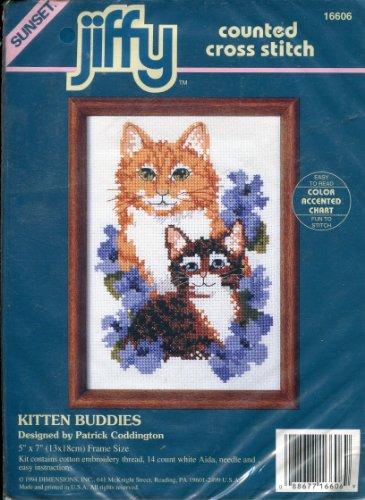 Cross Counted Jiffy Kit Stitch (Sunset Jiffy Counted Cross Stitch Kit ~ Kitten Buddies Designed by Patrick Coddington)