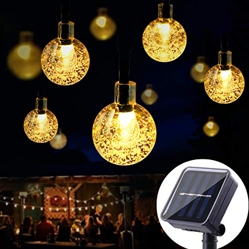 SEMILITS Solar String Lights Waterproof 20ft 30 LED Hanging Globe Lights Patio Garden Christmas Outdoor Decorations, Warm White