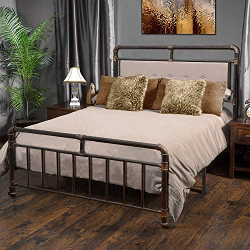 WAYTRIM Vintage Metal Bed Frame Platform with Headboard and Footboard, Heavy Duty Steel Slat Support, Box Spring Replacement, Retro Water Pipe Design – Queen Size 51es3HOLomL