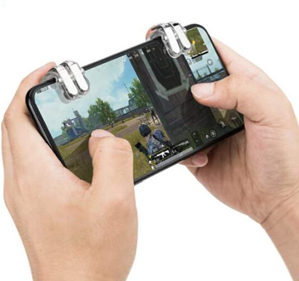 Left + Right BOLAKER W6 Shooter Controller PUBG ROS Trigger Fire Aim Button for Mobile Game 1 Pair PUBG Mobile Game Fire Button Phone Gaming Trigger Shooter Controller