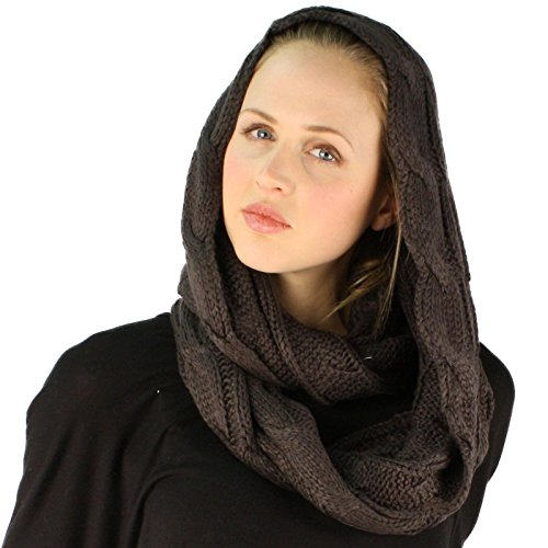 Winter Soft Pullover Cable Wide Knit Long Loop Infinity Hood Cowl Scarf (Wide Cowl)