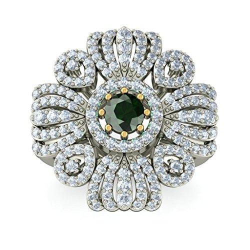 18K Or Blanc,-CT TW Diamant Blanc (IJ | SI) Tourmaline verte et diamant Bague