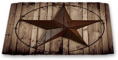 Vintage Western Texas Star Doormat On Wood Borad Indoor 30X18IN