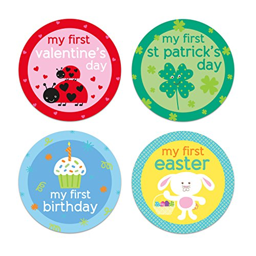 Tiny Ideas Baby's First Holiday Belly Stickers-Easter, Mother's Day, Father's Day, Fourth of July, Halloween, Thanksgiving, Christmas, Hanukkah, New Year, Valentine's Day, Grandparents Day