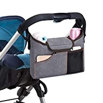 Universal Baby Jogger Stroller Organizer Bag/Diaper Bag with Cup Holders. Extra Storage Space for Organize The Baby Accessories and Your Phones(Grey)