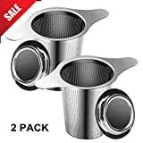 loose tea steeper teapot - Tea Infuser, 304 Stainless Steel Water Filter Tea Strainer with Double Handles for Hanging on Teapots, Mugs, Cups to steep Loose Leaf Tea and Coffee Maker-2 Packs