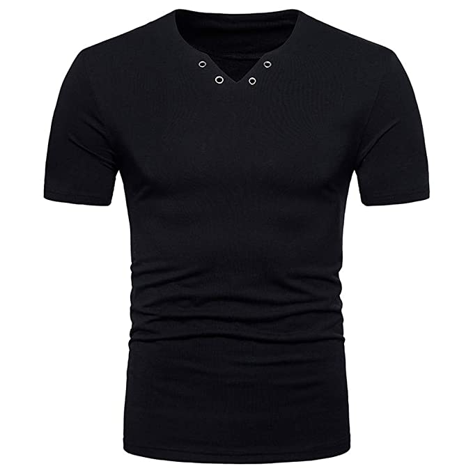 ¡Gran promoción!Camisas para Hombre Verano Casual Color sólido Personalidad Cuello En V Camisetas de Manga Corta Tops Blusas Rovinci: Amazon.es: Ropa y ...