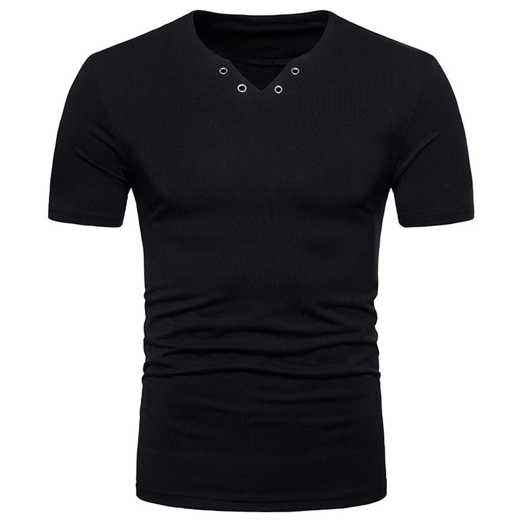 Forthery Men Casual Slim Fit Short Sleeve Henley T-Shirts V Neck Summer Tee Tops(Black,US Size XS = Tag S)
