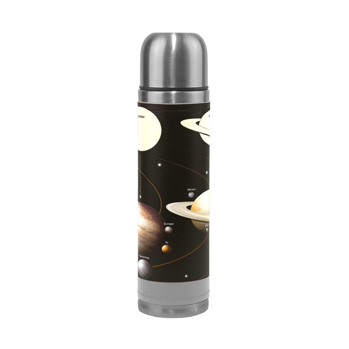 Solar System Water Bottle Stainless Steel Leak Proof Double Walled Vacuum Insulated Travel Coffee Mug Genuine Leather Cover Drink Cup 17 oz