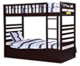 Merax Bunk Bed Twin with Trundle and End Ladder in Espresso