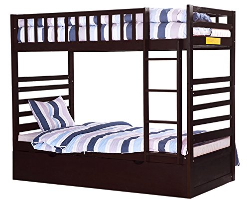 Amazon Com Merax Bunk Twin With Trundle Bed And End Ladder In