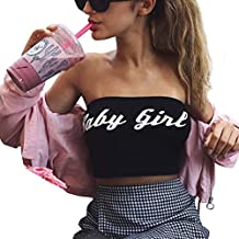Napoo Sexy Fashion Womens Baby Girl Letter Print Off Shoulder Crop Tank Tops Vest