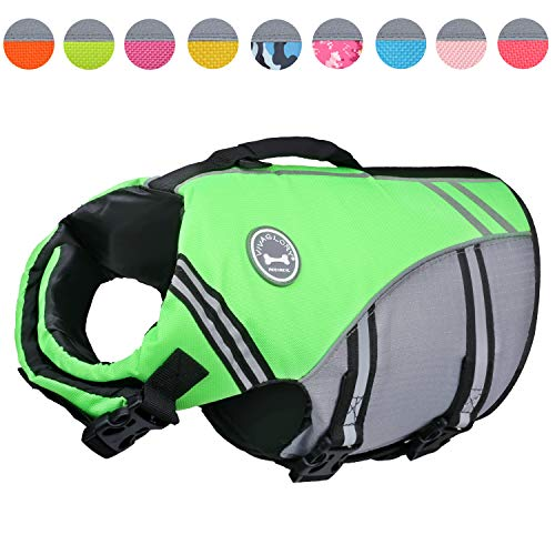 (Vivaglory New Sports Style Ripstop Dog Life Jacket with Superior Buoyancy & Rescue Handle, Bright Green, S)