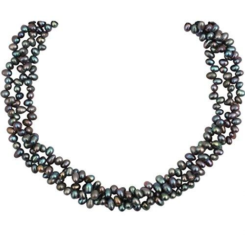 Perles de Philippine - Collier perles de culture et perles de pluie naturelles noires - 3 rangs