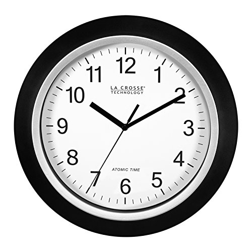 Clock Atomic Analog Lacrosse - La Crosse Technology 404-1236 13.5 Inch Atomic Analog Wall Clock, Black