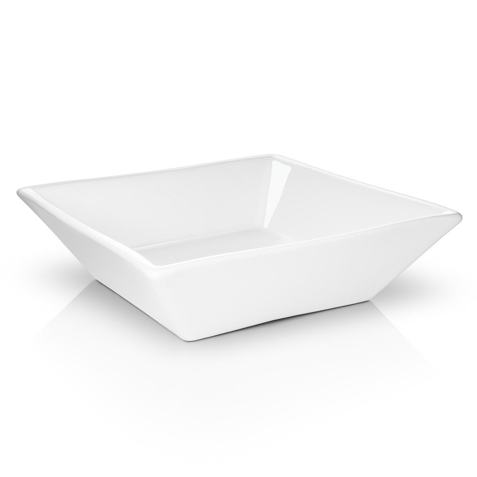 Miligoré 16'' x 16'' Beveled Square White Ceramic Vessel Sink - Modern Above Counter Bathroom Vanity Bowl by Miligoré