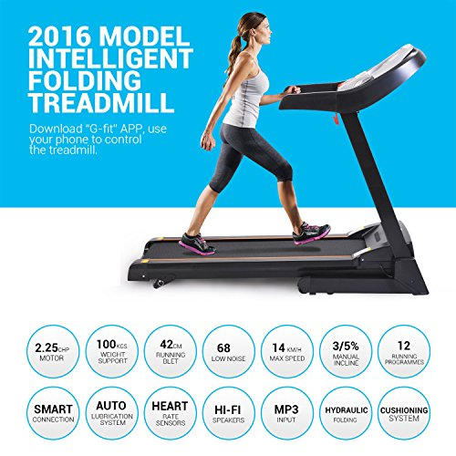Miageek Fitness Folding Electric Jogging Treadmill with Smartphone APP Control, Walking Running Exercise Machine Incline Trainer Equipment Easy Assembly (2.25 HP - Black) by Miageek (Image #5)