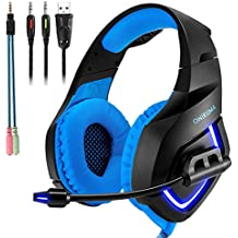 [Patrocinado] G2000G1000Gaming Auriculares over-ear Auriculares de diadema Bass auriculares 23,5mm luz LED Cool estilo profesional estéreo con micrófono cancelación de ruido y control de volumen, azul (K Blue)