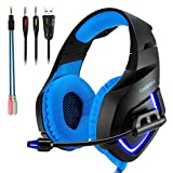Cheap Gaming Headset with Mic for PS4,PC,Xbox One, Laptop Sound Clarity Noise Isolation LED Lights Headphone Soft Comfy EarPads with Volume Control Omnidirectional Microphone Gamer for Smartphone,Computer